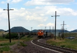 BNSF 5968 snaking its way through an S curve